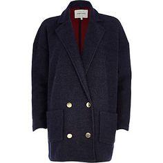 Navy oversized jersey coat $120.00