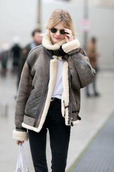Acne shearling. #CarolineSchurch rockin it #offduty in Paris.