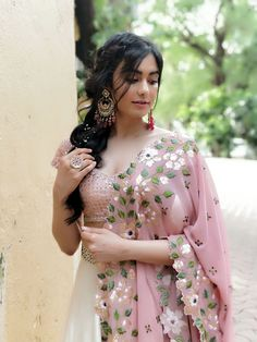 Bollywood Actress Adah Sharma Pink Embroidered Lehenga for Iftar Party Indian Dresses, Indian Outfits, Bride And Prejudice, Girl Fashion, Fashion Dresses, Adah Sharma, Coral, Bridal Lehenga, Saree Wedding