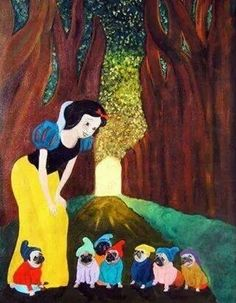 Snow white and the 7 pugs