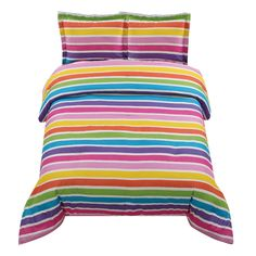 Rainbow Stripe Bedding  Go over the rainbow with this multi colored  striped comforter and sham(s).  This set will  brighten up any room!
