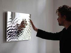 VIBRATION MIRROR - Water sculpture chromed polyurethan or polished aluminium 60 x 40 cm