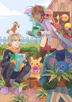 Candela, Blanche, and Spark with Pikachu, Bulbasaur, Squirtle, Charmander…