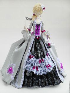 Купить Текстильная кукла.Тряпиенс.Миранда - серый, фиолетовый, тряпиенса, корейские тряпиенс, интерьерная кукла