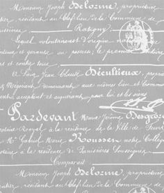 Penmanship Storm Twill #fabric. Add touch of #tradition to a room with script fabric. #grey