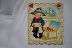 vtg valentine card paper Whitney made boy pirate with treasure chest
