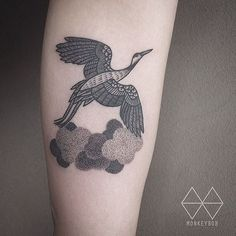 What does crane tattoo mean? We have crane tattoo ideas, designs, symbolism and we explain the meaning behind the tattoo. Dot Tattoos, Black Tattoos, Small Tattoos, Tattoos For Guys, Tattoos For Women, Tatoos, Forearm Cover Up Tattoos, Heron Tattoo, Crane Tattoo