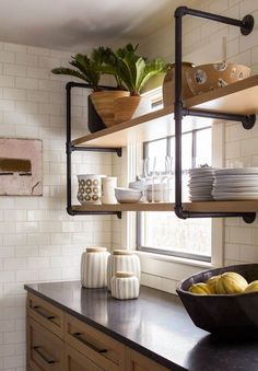 Industrial Wood Kitchen Shelves