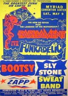 1981 Parliament Funkadelic Bootsy Sly Stone Zapp at Myriad Convention Center Soul Music, Art Music, Music Artists, Rock N Roll, Rock Posters, Music Posters, Band Posters, Sly Stone, Parliament Funkadelic