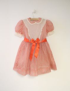 1950's Red and White Striped Chiffon Party Dress by BabyTweeds, $40.00