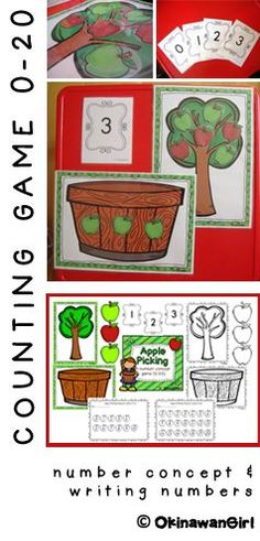 "The object of this fun, easy to differentiate, 2-4 player game is for students to ""pick"" various quantities of apples from the apple tree and thus complete their apple picking record cards. Available in color and black and white. $"