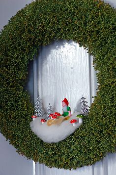 gnome and toadstool wreath