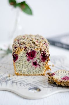 Cherry and poppy seed cake