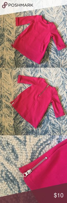 Baby Gap Fuschia Mod Dress Mod baby! Cute shift style dress with front pockets, back zipper, zippers on both sides. 3/4 sleeves. GAP Dresses Casual