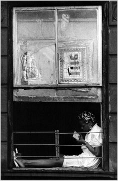 Harlem-1987 Woman in Window (Vertical) | Matt Weber New York Photography Store