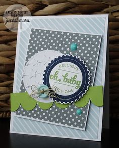 Card by Jen del Muro. Reverse Confetti stamp set: Circle Sentiments. Confetti Cuts: Scalloped Circles and Star Garland. Baby card. Congratulations Baby Card. Masculine card.