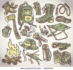 stock vector : doodle vector camping theme set