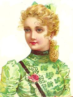 free images - incredible vintage girl in green
