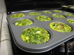 egg cupcakes.... egg, spinach, bacon, zucchini, peppers, onion...