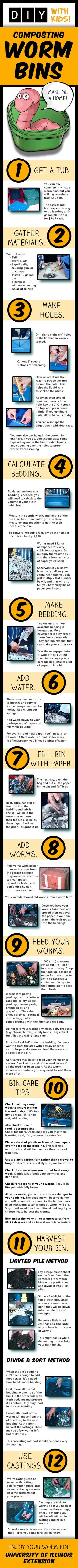 Excellent educational (not to mention fun) activity for kids! Learn to make and take care of your own composting worm bin.