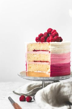 Moist and flavourful, classic vanilla cake paired with raspberry buttercream frosting and homemade raspberry jam. Perfect combination of sweet and tangy! Homemade Raspberry Jam, Raspberry Cake, Raspberry Buttercream, Buttercream Frosting, Strawberry Cakes, Cupcakes, Cupcake Cakes, Lemon And Coconut Cake, Coconut Cakes