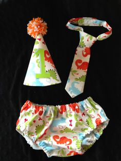 Boys Cake Smash Set  Dinosaurs  Diaper Cover by SlickandBoogers, $25.00