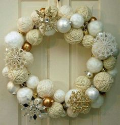 2015 Christmas yarn wrapped ball wreath with silver and golden glitter snowflakes, jingle bells - Christmas ornament, home decor - 2015 Christmas ball wreath decor ideas that you will need ! by leighmason Christmas Yarn, Christmas Bells, Christmas Wrapping, White Christmas, Christmas Ornaments, Ornaments Ideas, Christmas Fashion, Christmas Tree, Christmas Projects