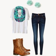 Cute Outfits for School with Brown Combat Boots