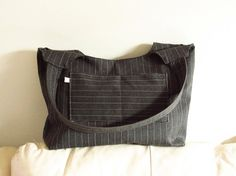 Gray BEAUCATCHER tote bag shoulder bag striped by HULINbags