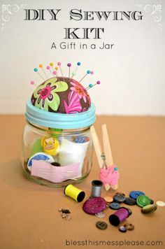 DIY Sewing Kit Gift in a Jar: 100 Days of Homemade Holiday Inspiration