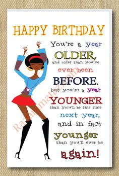African American Girl A Year Older Birthday Card --- http://tipsalud.com -----