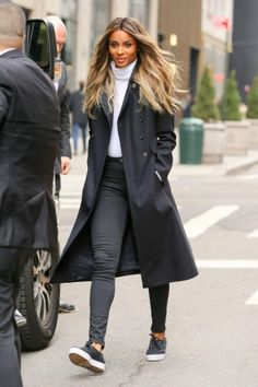 Ciara wearing Keds Triumph Nylon Sneakers in Black and Fay Navy Double Breasted Coat