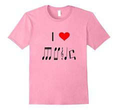 Mens I Love Music T Shirt Made From Music Notes XL Pink