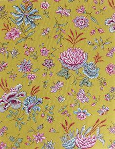 Tissu de Provence au mètre Boutis jaune floral