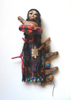 Native Gourd Artist Cloth and Clay Folk Art Doll with Painted Gourds | ConsciousArtStudios - Dolls & Miniatures on ArtFi