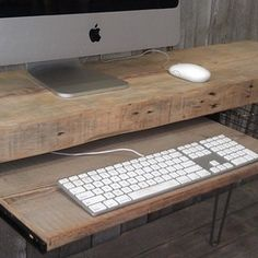 small home office ideas reclaimed wood desk - Google Search