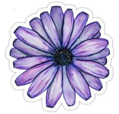 'Watercolor Purple Daisy Flower' Sticker by electroslag Purple Daisy, Purple Flowers, 3d Mode, Skateboard Design, Aesthetic Stickers, Polymer Clay Art, Pictures To Draw, Glossier Stickers, Cute Stickers