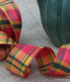 Cavalier Plaid Wired Ribbon, Orange, Gold and Green from Cottage Crafts Online