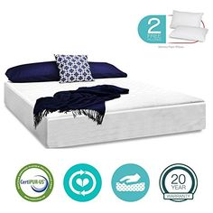 Special Offers - 14 Inch Memory Foam Mattress  Triple-Layered  CertiPUR-US Certified  Medium Comfort Level  20-Year Warranty  Cal King Size  with Free Pillows - In stock & Free Shipping. You can save more money! Check It (August 30 2016 at 02:16PM) >> http://adjustablebedusa.net/14-inch-memory-foam-mattress-triple-layered-certipur-us-certified-medium-comfort-level-20-year-warranty-cal-king-size-with-free-pillows/