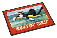 Black and white Cat Surfin Bird Indoor or Outdoor Mat 18x27 Doormat