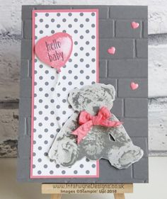 Simple Sketched Saturday Challenge - made using Baby Bear stamp, Balloon Builders stamp and brick wall embossing folder from Stampin' Up! Bear Card, New Baby Cards, Some Cards, Baby Shower Cards, Animal Cards, Stamping Up, Kids Cards, Homemade Cards, Stampin Up Cards