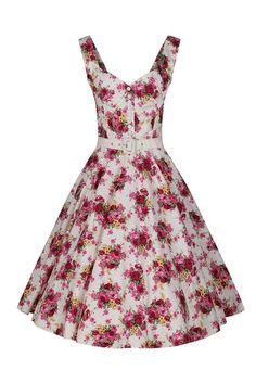 White and Pink Floral Vintage Belt Swing Dress