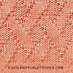 Stitch pattern for Blanket. The Diagonal Basketweave stitch is a quick and easy knit. It is simple and symmetrical.