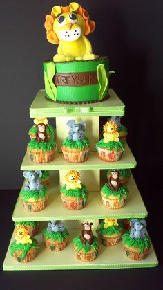 Safari cupcake tower by Custom Cakes By Tracee, via Flickr