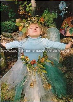 one pinner said: Homemade Woodland Fairy Costume: This Homemade Woodland Fairy Costume was made from an elastic waist skirt from Dollar store, with torn tulle in 3 shades of green that I sewed on in rows.