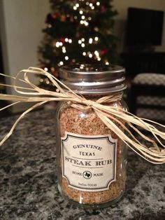 Genuine Texas Steak Rub: 1 tablespoon kosher salt 1 teaspoon black pepper 1 teaspoon chili powder 1 teaspoon garlic powder 1/2 teaspoon rosemary 1/4 teaspoon thyme 1 teaspoon white sugar 1/4 teaspoon paprika  Mix ingredients together stir well. Rub spice mixture on each side of steak at least 30 minutes before grilling. Can also be used on chicken, pork and hamburgers.