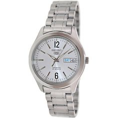 Seiko Men's 5 Automatic SNKM53K Silvertone Stainless Steel Automatic Watch with Silvertone Dial - $75