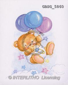 Ron, BABIES, paintings, bear, balloons, symbol(GBSG5860,#B#) bébé, illustrations, pinturas