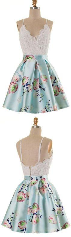 A-Line Dresses,Spaghetti Straps Dresses,Short Homecoming Dresses,Blue Floral Dresses,Lace Dresses,Summer Dresses