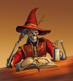 Skeleton Wizard by thegryph on DeviantArt Dnd Wizard, Fantasy Wizard, Fantasy Races, Fantasy Monster, Fantasy Rpg, Fantasy Character Design, Character Design Inspiration, Character Concept, Character Art